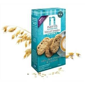 Nairns Ovesné sušenky s hořkou čokoládou a kokosem bez lepku 160 g