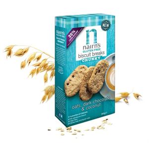 Nairns Ovesné sušenky s hořkou čokoládou a kokosem bez lepku 160 g - expirace