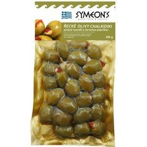 Symeons Zelené olivy plněné mandlí, červená paprika 200 g