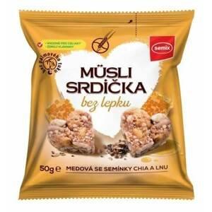 SEMIX Müsli srdíčka bez lepku medová se semínky chia a lnu 50 g