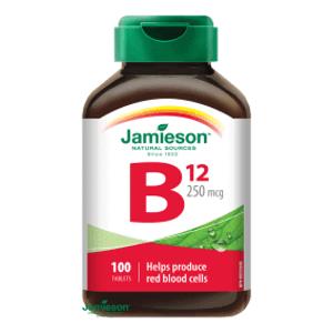 Jamieson Vitamín B12 methylkobalamín 250 µg 100 tablet