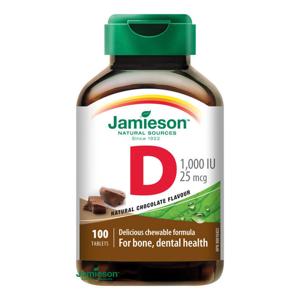 Jamieson Vitamín D3 1000 IU tablety na cucání s příchutí čokolády 100 tablet
