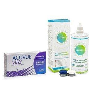 Acuvue Vita (6 čoček) + Solunate Multi-Purpose 400 ml s pouzdrem Acuvue Měsíční čočky silikon-hydrogelové balíčky sférické