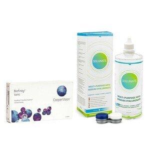 Biofinity Toric (3 čočky) + Solunate Multi-Purpose 400 ml s pouzdrem Biofinity Kontinuální čočky torické silikon-hydrogelové balíčky