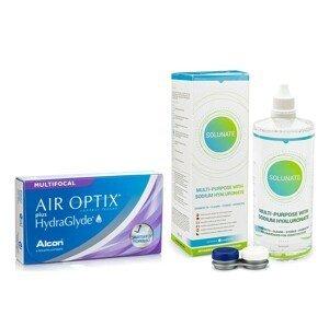 Air Optix Plus Hydraglyde Multifocal (6 čoček) + Solunate Multi-Purpose 400 ml s pouzdrem Air Optix Měsíční čočky silikon-hydrogelové multifokální balíčky