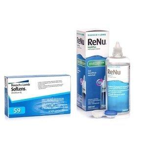 SofLens 59 (6 čoček) + ReNu MultiPlus 360 ml s pouzdrem Soflens Měsíční čočky balíčky sférické
