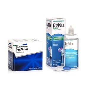 PureVision (6 čoček) + ReNu MultiPlus 360 ml s pouzdrem PureVision Kontinuální čočky silikon-hydrogelové balíčky sférické