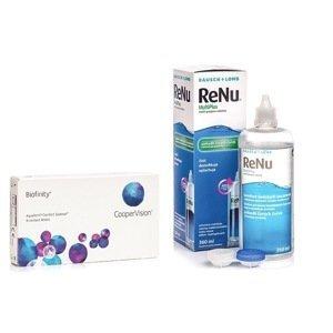 Biofinity (6 čoček) + ReNu MultiPlus 360 ml s pouzdrem Biofinity Měsíční čočky silikon-hydrogelové balíčky sférické