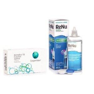 Biomedics 55 Evolution (6 čoček) + ReNu MultiPlus 360 ml s pouzdrem Biomedics Měsíční čočky balíčky
