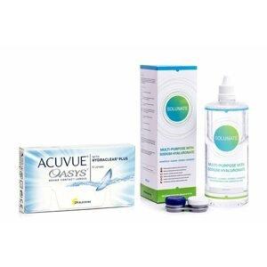 Acuvue Oasys (6 čoček) + Solunate Multi-Purpose 400 ml s pouzdrem Acuvue 2 týdenní čočky silikon-hydrogelové balíčky sférické