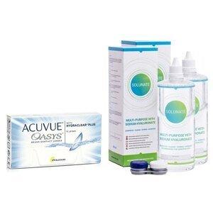 Acuvue Oasys (6 čoček) + 2 x Solunate Multi-Purpose 400 ml s pouzdrem Acuvue 2 týdenní čočky silikon-hydrogelové balíčky sférické
