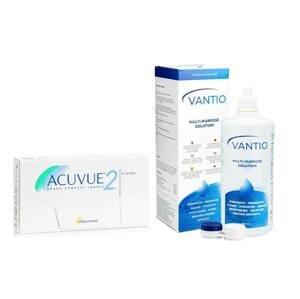 Acuvue 2 (6 čoček) + Vantio Multi-Purpose 360 ml s pouzdrem Acuvue 2 týdenní čočky balíčky sférické
