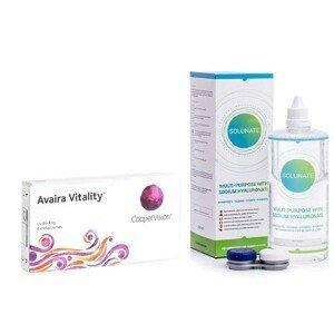 Avaira Vitality (6 čoček) + Solunate Multi-Purpose 400 ml s pouzdrem Avaira Měsíční čočky silikon-hydrogelové balíčky sférické