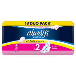 Always Classic Sensitive Long Hygienické Vložky SKřidélky 18ks
