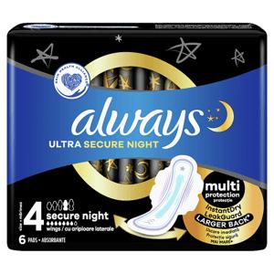 Always Ultra Secure Night (Velikost 4) Hygienické Vložky S Křidélky 6 ks