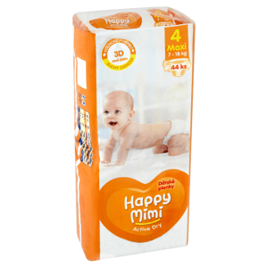 Happy Mimi Active Dry Dětské plenky 4 maxi 7 - 18kg 44 ks
