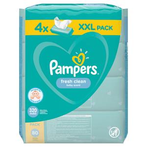 Pampers Fresh Clean Baby Dětské Čisticí Ubrousky 4 Balení = 320 Čisticích Ubrousků