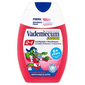 Vademecum Junior 2v1 zubní pasta + ústní voda pro děti proti zubnímu kazu s jahodovou příchutí 75ml