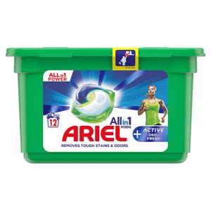 Ariel All-In-1 PODs +Aktivní Technologie Proti Zápachu Kapsle Na Praní, 12 Praní