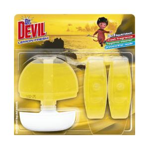 Dr.Devil 3in1 tekutý WC blok 3x55 ml Lemon fresh