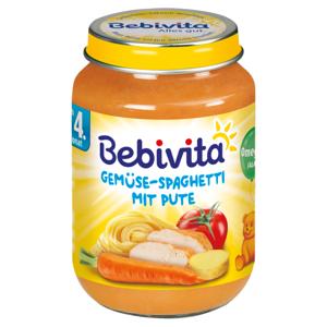 Bebivita Zelenina - špagety s krůtím masem 190 g