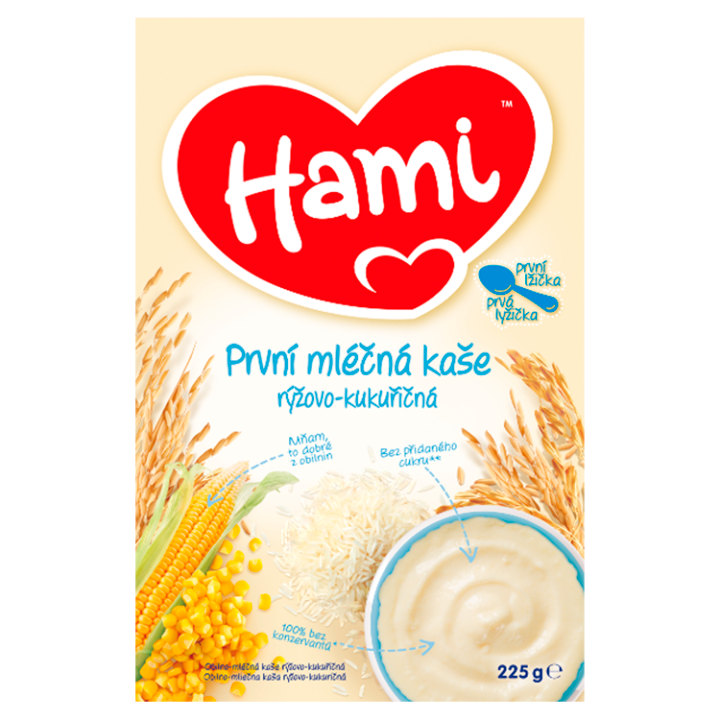 Hami první mléčná kaše rýžovo-kukuřičná první lžička 225g