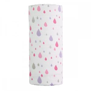 T-tomi Velká bavlněná TETRA osuška 120 x 120 cm Pink drops / růžové kapky