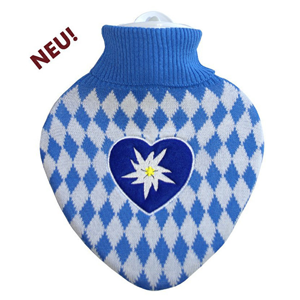 """Hugo-Frosch Klasický termofor ve tvaru srdce s pleteným obalem """"Bavaria"""""""