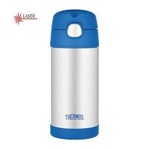 Thermos FUNtainer Dětská termoska s brčkem - stříbrná/modrá 355 ml