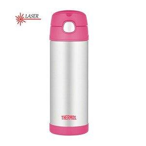 Thermos FUNtainer Dětská termoska s brčkem - růžová 470 ml