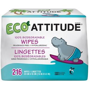 Attitude Hypoalergenní a eko vlhčené ubrousky bez vůně - výhodné balení 3 x 72 ks 216 ks