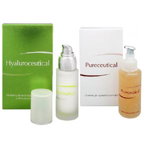 Herb Pharma Hyaluroceutical - hydratační biotechnologická emulze 30ml + Pureceutical - čisticí gel proti jemným vráskám 125ml