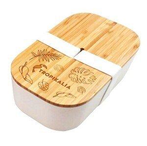 Tropikalia Lunch box ECO L s oddělovačem - Bílá páska