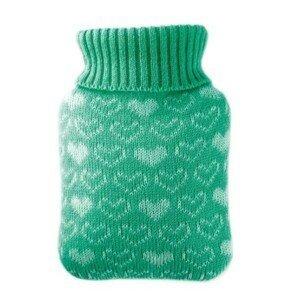 Hugo-Frosch Dětský termofor Classic MINI s pleteným obalem - srdíčka, zelený