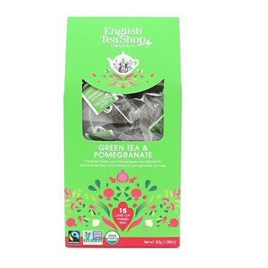 English Tea Shop Zelený čaj s granátovým jablkem 15 pyramidek sypaného čaje