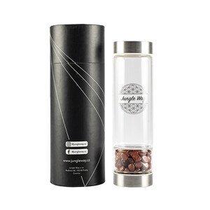 Jungle Way Designová skleněná láhev s jaspisem 480 ml