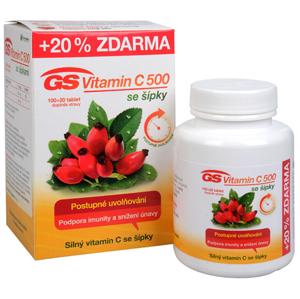 GreenSwan GS Vitamin C 500 + šípky 100 tbl. + 20 tbl. ZDARMA - SLEVA - poškozená krabička