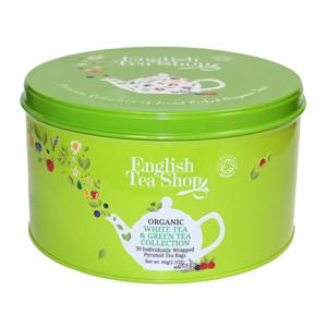 English Tea Shop Dárková kulatá zelená plechovka – BIO zelené a bílé čaje – 30 pyramidek - SLEVA - poškozená plechová krabička