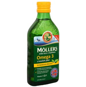 Möller´s Möller´s rybí olej Omega 3 z tresčích jater s citronovou příchutí 250 ml - SLEVA - mastná etiketa