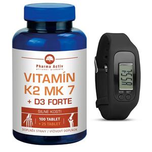 Pharma Activ Vitamín K2 MK7 + D3 FORTE 100 tbl. + 25 tbl. ZDARMA + Fitness náramek s krokoměrem - SLEVA - poškozená krabice lepená