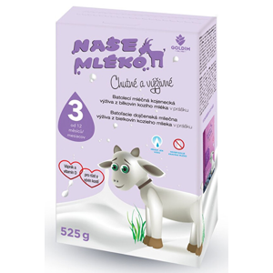 Goldim Naše mléko 3 batol. výživa z kozího mléka 12 m + 525 g - SLEVA - POMAČKANÁ KRABIČKA