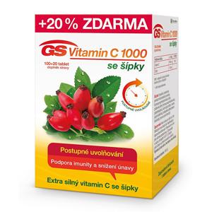 GreenSwan GS Vitamin C 1000 + šípky 100 tbl. + 20 tbl. ZDARMA - SLEVA - potrhaná krabička