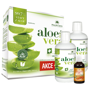 Pharma Activ Akční SET Aloe Vera Life 1000 ml 1+1 s příbalem 100% Rakytníkový olej 50 ml - SLEVA - potrhaná krabička