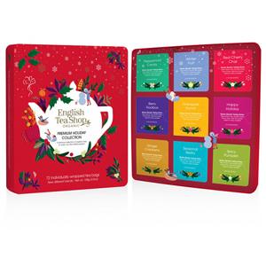 English Tea Shop Červená vánoční plechová kazeta 72 nál sáčků - SLEVA - poškozená krabička