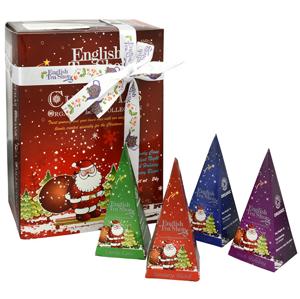 English Tea Shop Dárková kolekce 12 pyramidek Červený Santa 4 příchutě - SLEVA - potrhaná dárková krabička