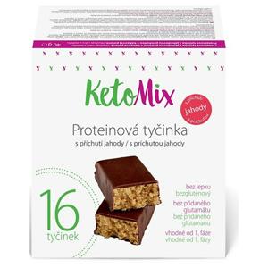 KetoMix Proteinové tyčinky s příchutí jahody 16 x 40 g - SLEVA - POŠKOZENÝ OBAL