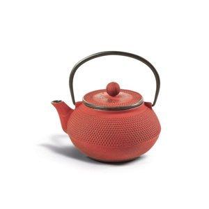 Litinová čajová konvice se sítkem - červená